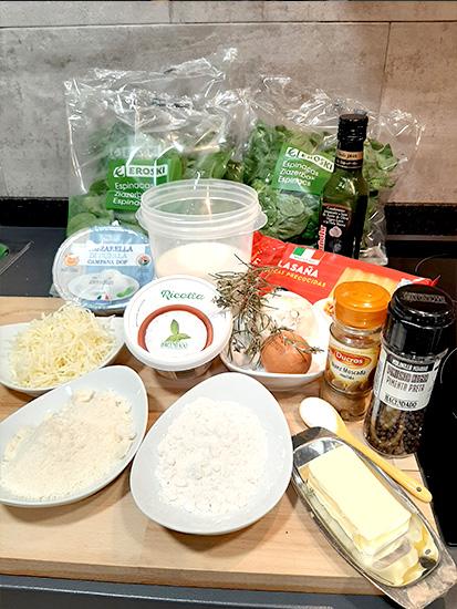 ingredients recepta lasanya espinacs
